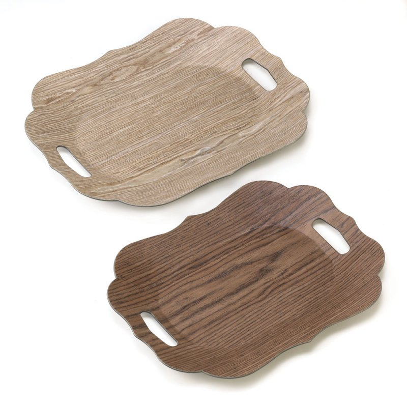 Image 1 of Set of 2 Contemporary Faux Wood Grain Scallop Edge Decorative Trays
