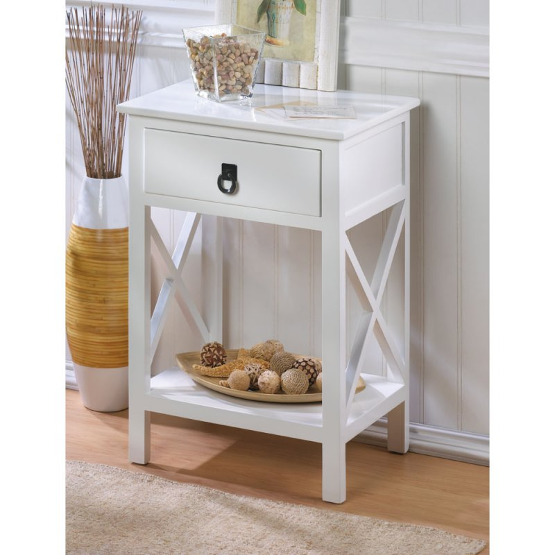 Hampton Glossy White Accent End Table Night Stand W Drawer And