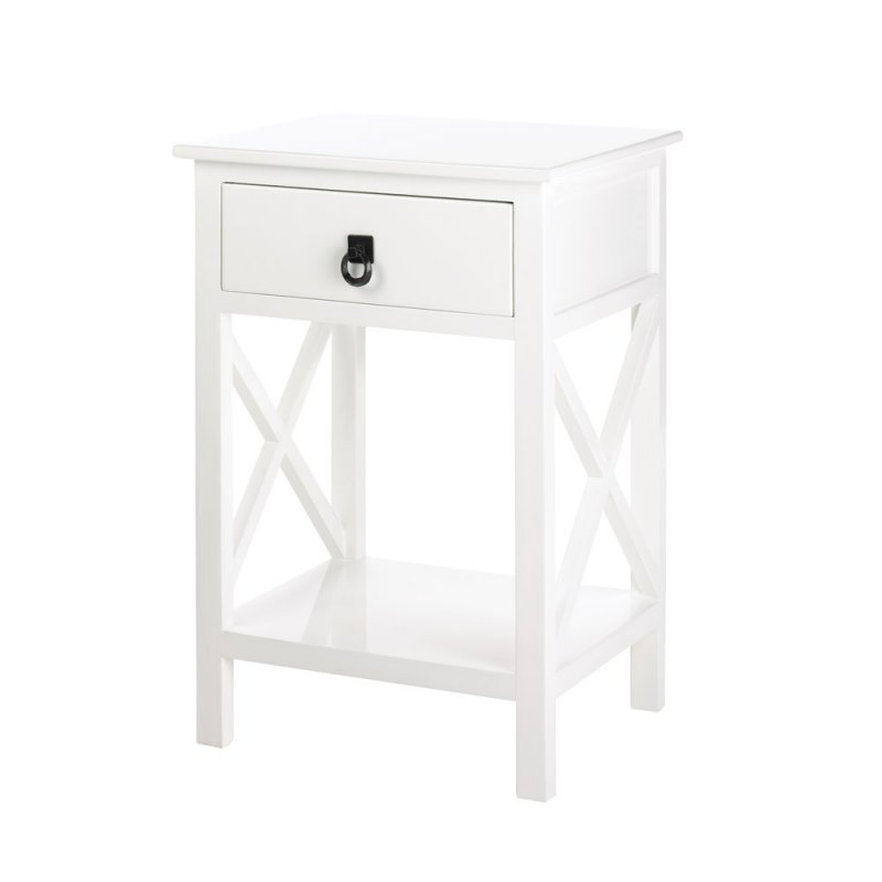 Hampton Glossy White Accent, End Table Night Stand W/ Drawer And Shelf
