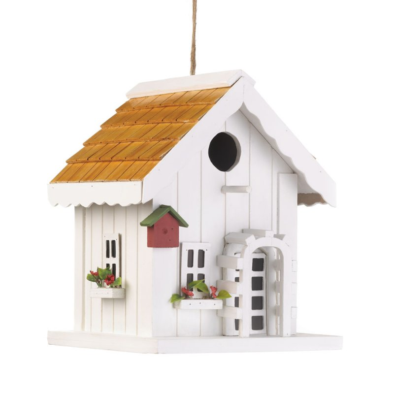 Image 1 of Happy Home White Birdhouse with Window Boxes and Faux Flowers