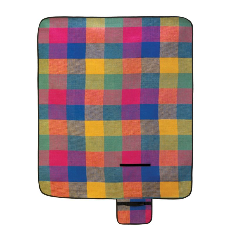 Colorful Fiesta Checkered Picnic, Outdoor Concerts Mat Blanket with Handle