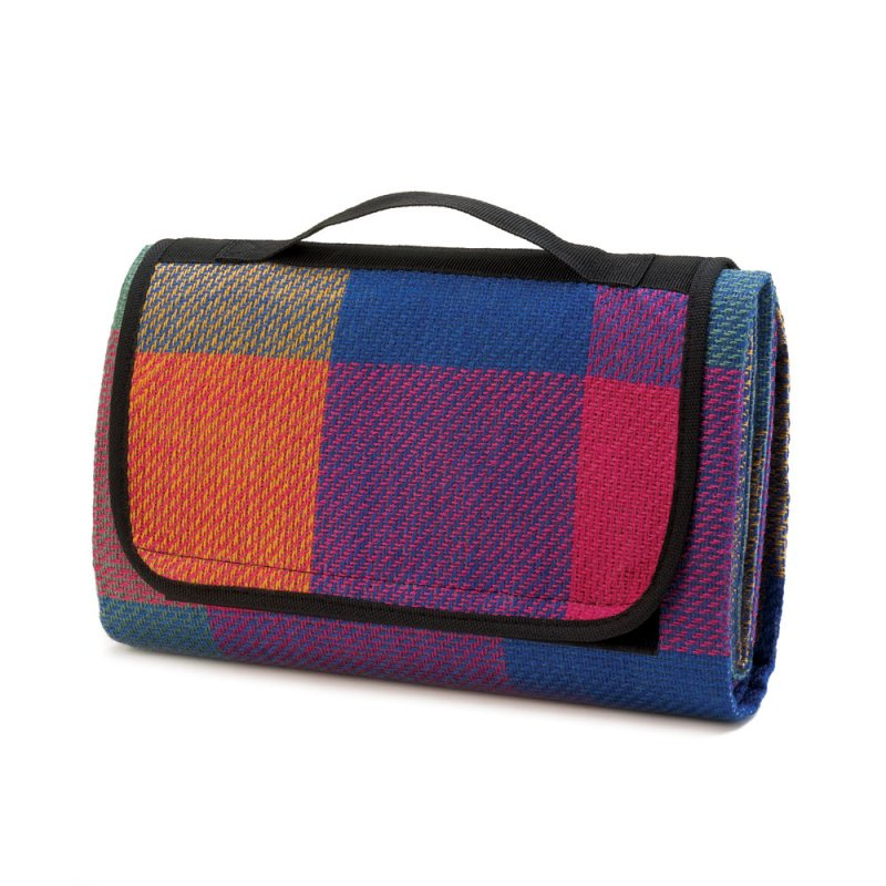 Image 1 of Colorful Fiesta Checkered Picnic, Outdoor Concerts Mat Blanket with Handle