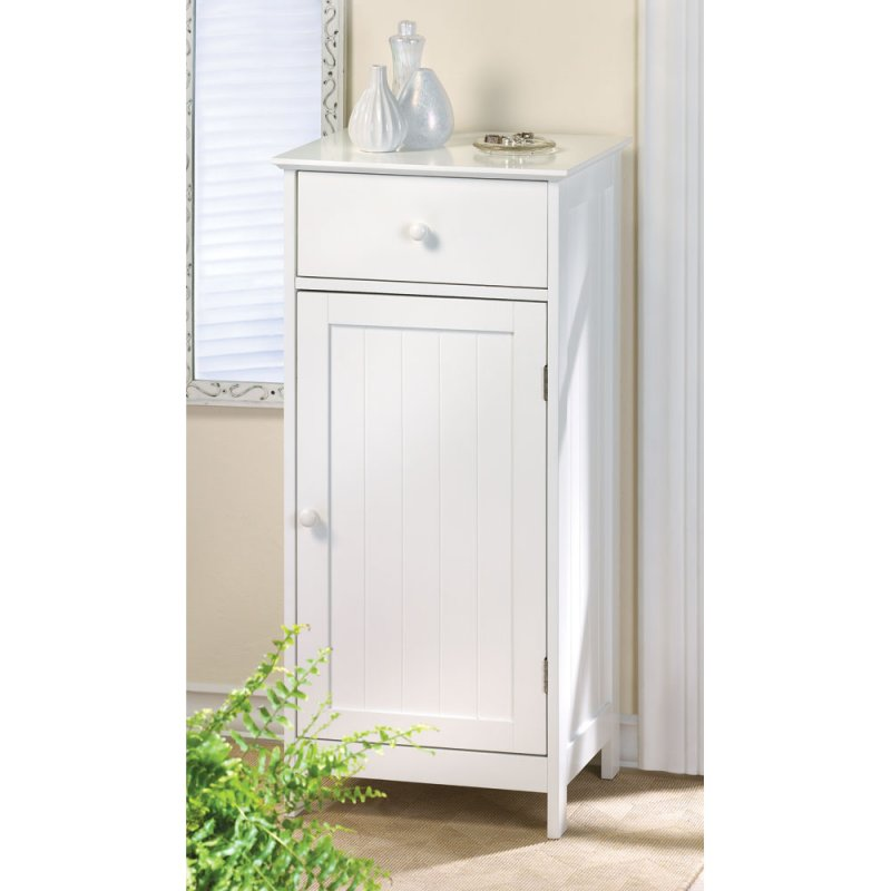 Lakeside White Bathroom Storage Cabinet, or Night Stand, with Drawer and Shelf