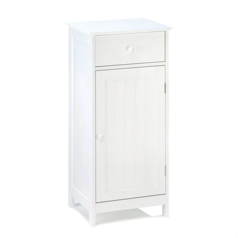Image 1 of Lakeside White Bathroom Storage Cabinet, or Night Stand, with Drawer and Shelf