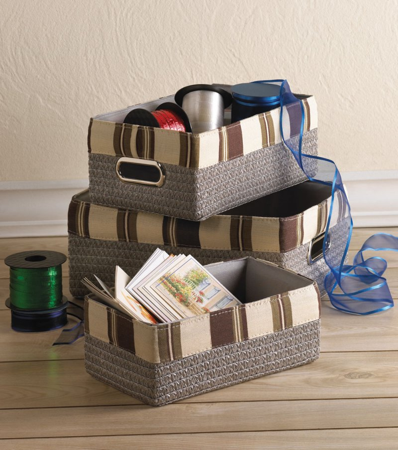 Set of 3 Neutral Color Nesting Basket Bins for Kitchen, Jewelry, Bathroom
