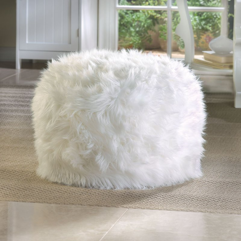 Image 1 of Fuzzy White Ottoman, Footstool Pouf