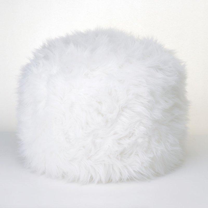 Image 0 of Fuzzy White Ottoman, Footstool Pouf