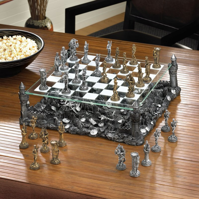 Image 0 of Medieval Warrior Knight Chess Set Glass Board Sits On Four Towers Of Castle