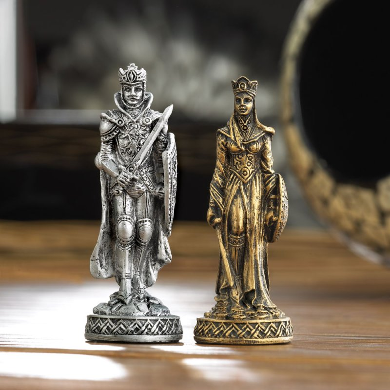 Image 2 of Medieval Warrior Knight Chess Set Glass Board Sits On Four Towers Of Castle