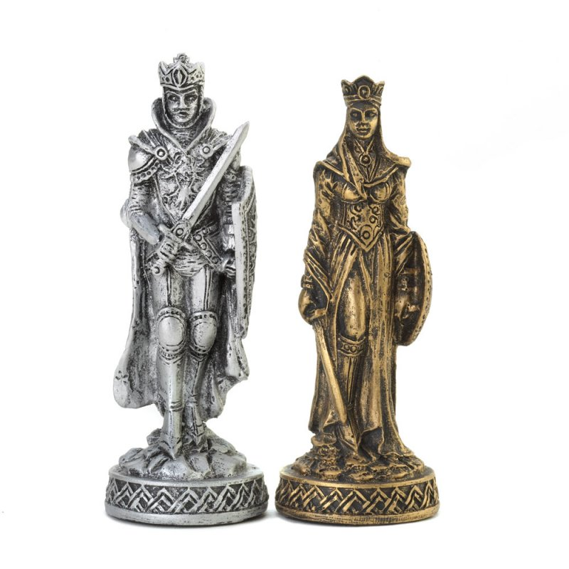 Image 1 of Medieval Warrior Knight Chess Set Glass Board Sits On Four Towers Of Castle