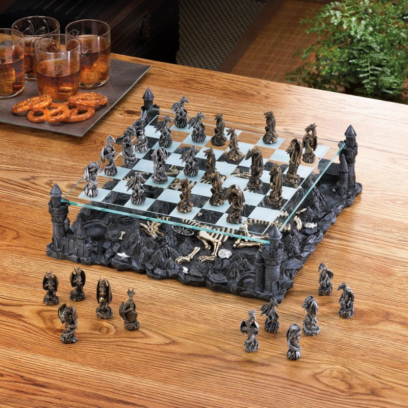 Image 3 of Gothic Black Dragon Chess Set Glass Board Sits On Four Towers Of Kingdom