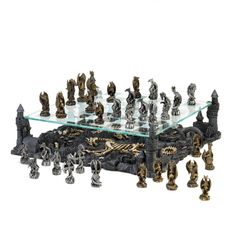 Image 0 of Gothic Black Dragon Chess Set Glass Board Sits On Four Towers Of Kingdom