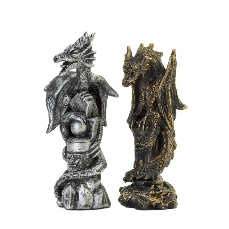 Image 1 of Gothic Black Dragon Chess Set Glass Board Sits On Four Towers Of Kingdom