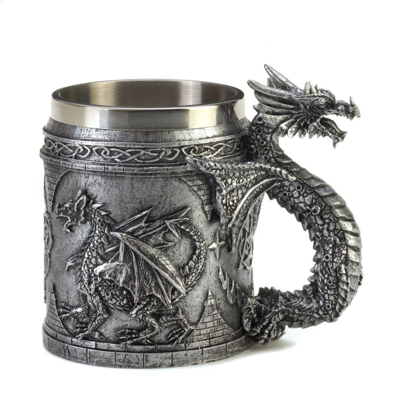 Image 0 of Gothic Medieval Serpentine Dragon Mug with Celtic Symbols