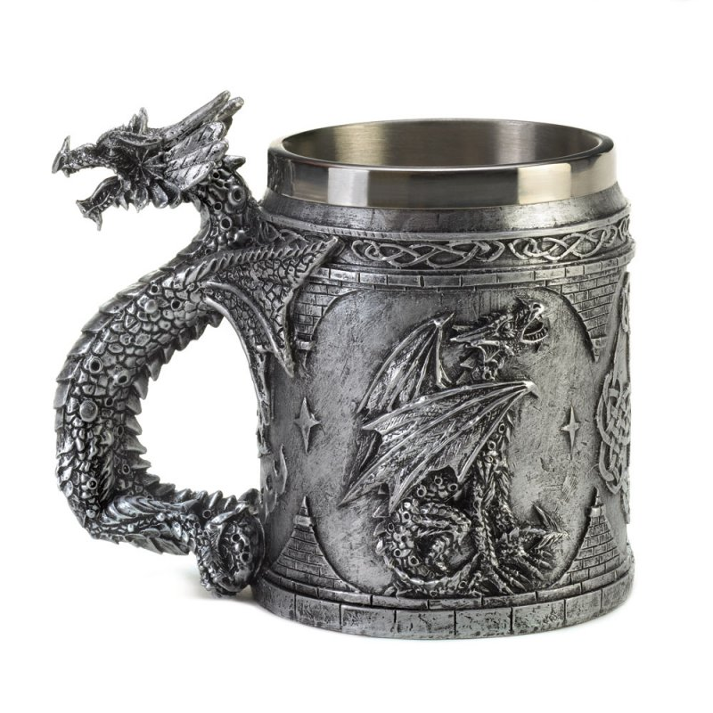 Image 1 of Gothic Medieval Serpentine Dragon Mug with Celtic Symbols