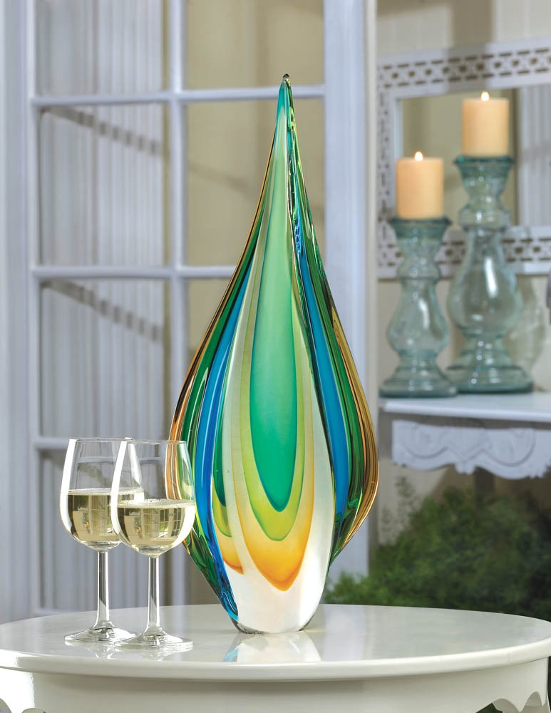 Modern Contemporary Cool Flame Blues, Greens, Yellow Art Glass Decorative Statue