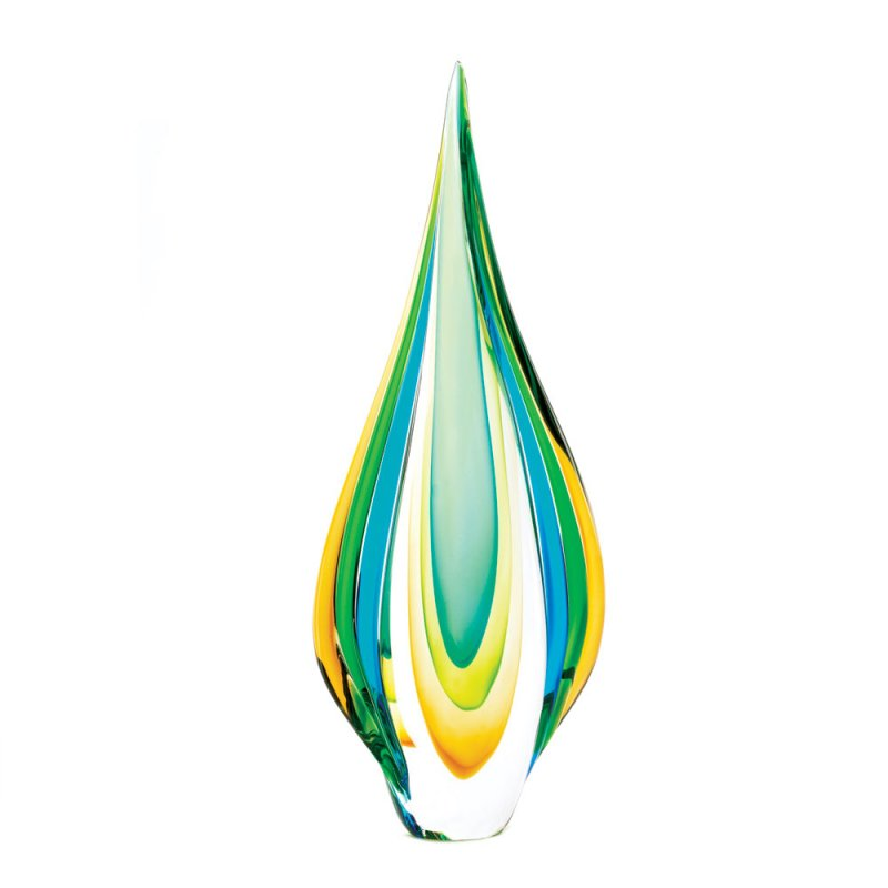 Image 0 of Modern Contemporary Cool Flame Blues, Greens, Yellow Art Glass Decorative Statue