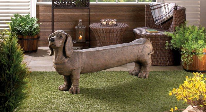 Dachshund Doggy Garden, Patio, Entryway, Porch Bench