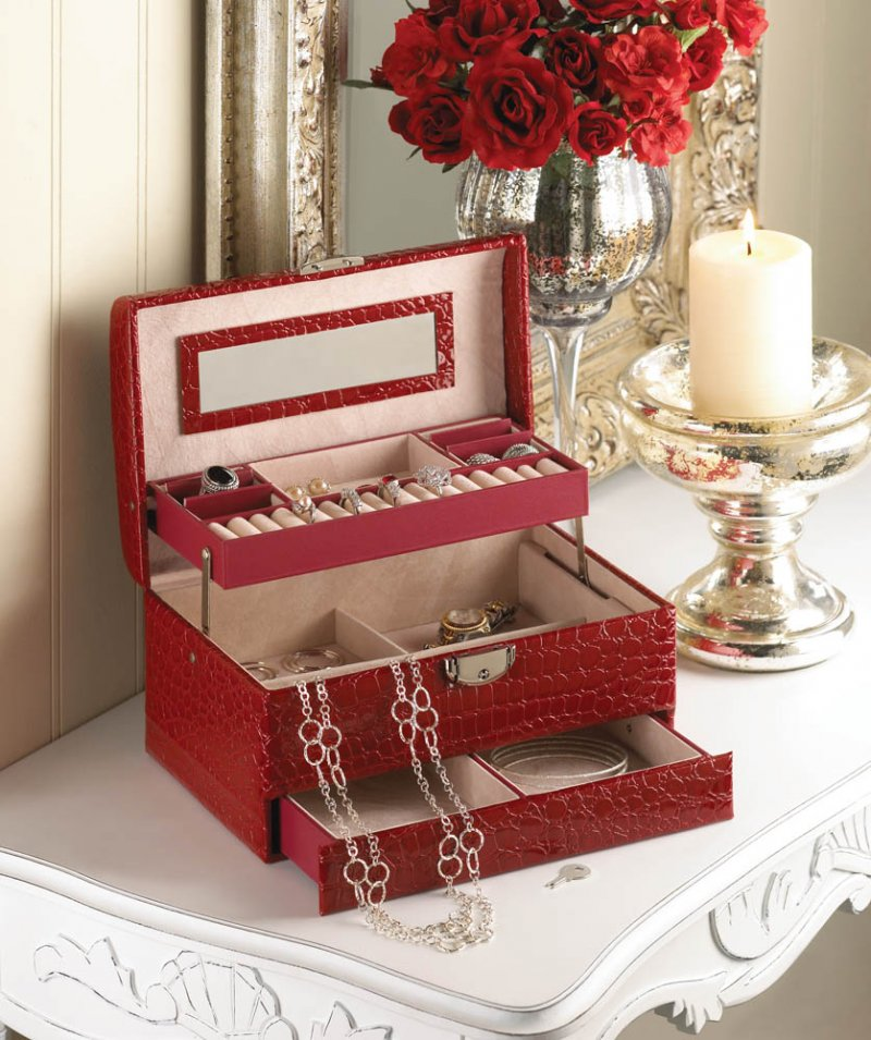 Image 0 of Multi-Level Red Faux Leather Snakeskin Pattern Jewelry Box w/ Mirrored Lid