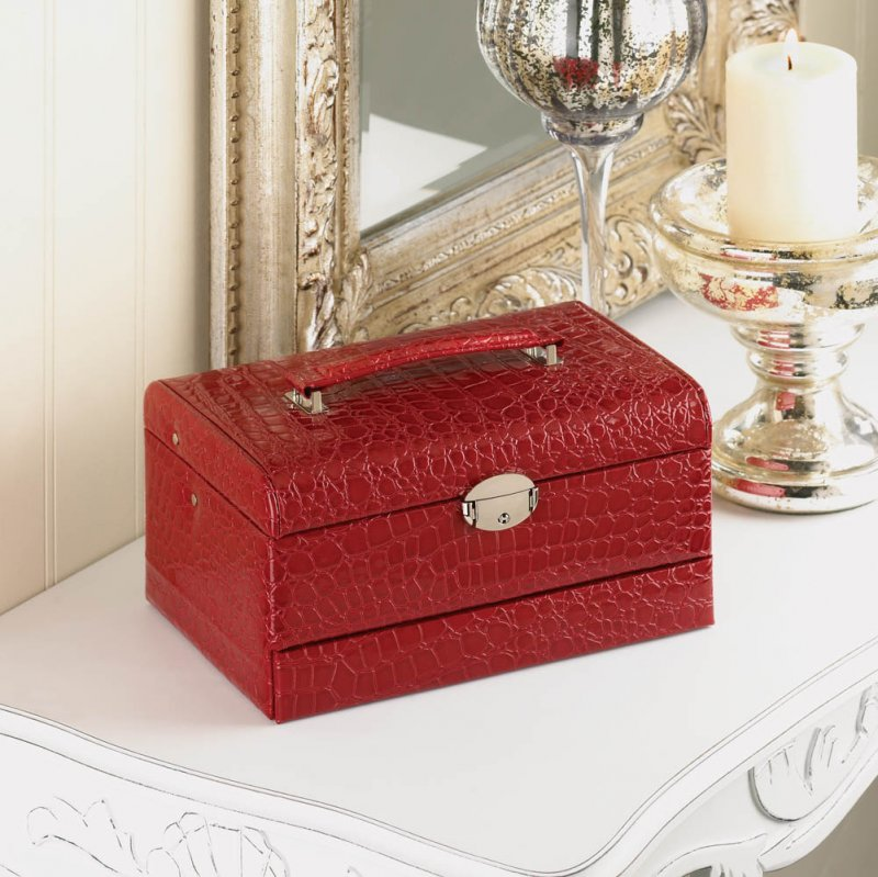 Image 1 of Multi-Level Red Faux Leather Snakeskin Pattern Jewelry Box w/ Mirrored Lid
