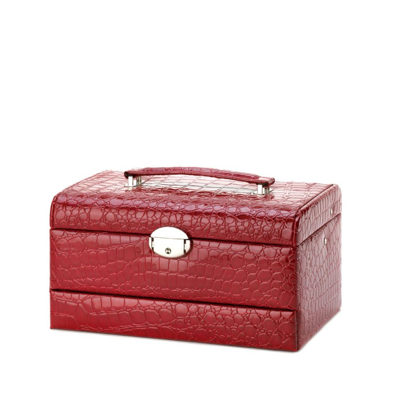 Image 2 of Multi-Level Red Faux Leather Snakeskin Pattern Jewelry Box w/ Mirrored Lid