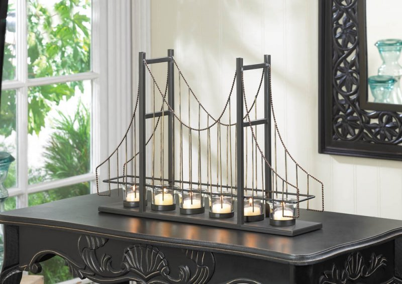 Golden Gate Suspension Bridge 6 Fluted Cup Candle Holder Centerpiece