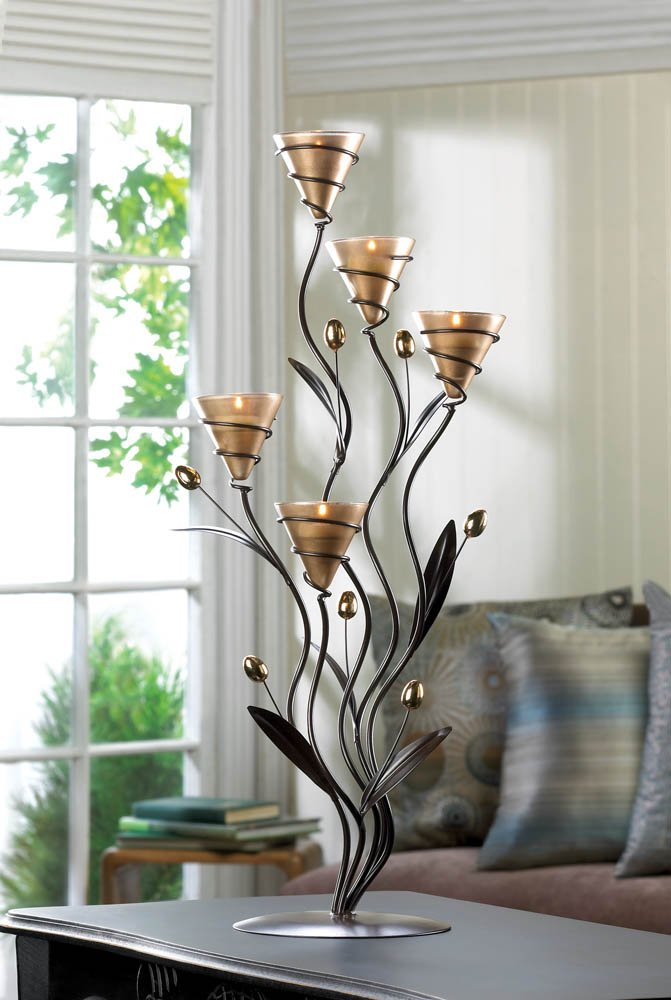 Golden 5 Cup Tealight Bouquet Candle Holder Candelabra on Leafy Vine Stand