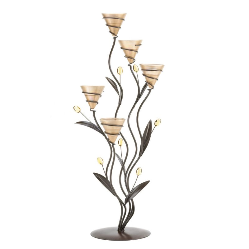 Image 1 of Golden 5 Cup Tealight Bouquet Candle Holder Candelabra on Leafy Vine Stand