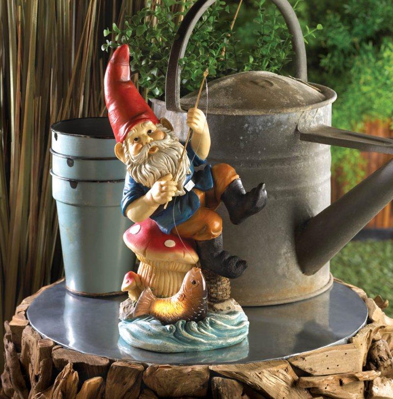 Image 0 of Solar Fishing Gnome on Mushroom Stool Garden Gnome Figure