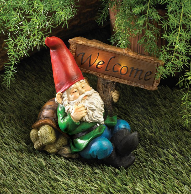 Image 0 of Solar Welcome Sign Garden Gnome Statue