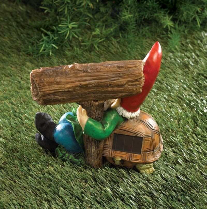 Image 1 of Solar Welcome Sign Garden Gnome Statue