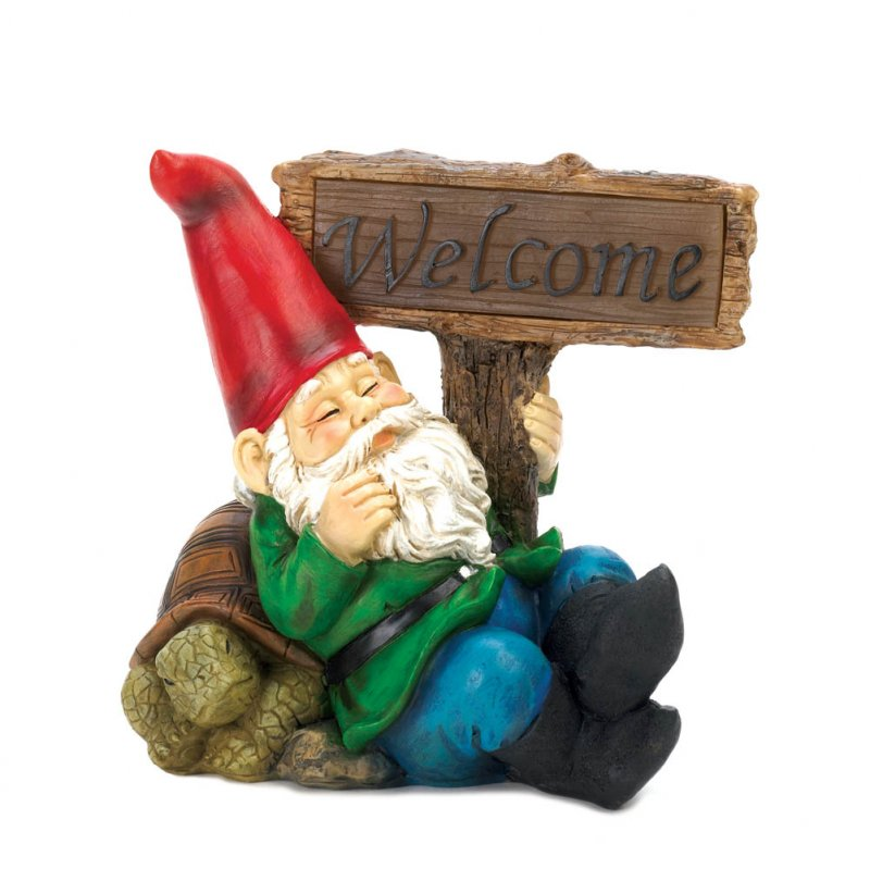 Image 2 of Solar Welcome Sign Garden Gnome Statue