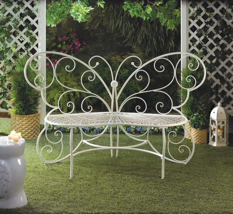 Image 0 of White Metal Butterfly Garden, Patio, Entryway, Porch Bench