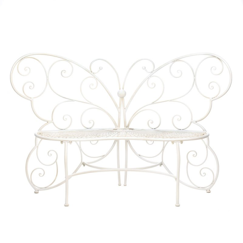 Image 1 of White Metal Butterfly Garden, Patio, Entryway, Porch Bench