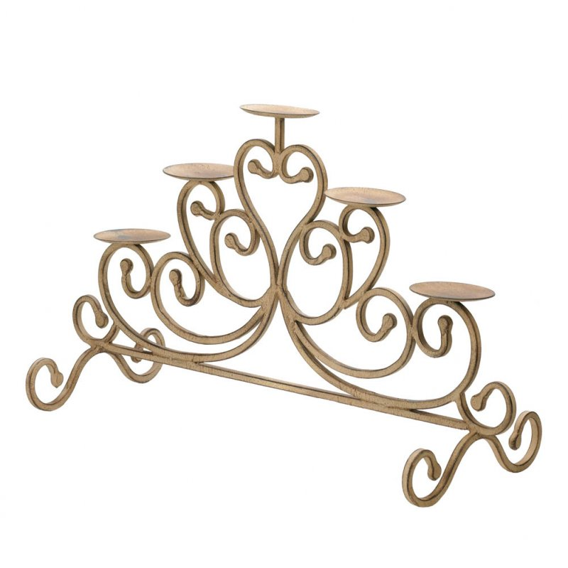 Image 1 of Shabby Antiqued 5-Candle Stand Scrollwork Candelabra Centerpiece