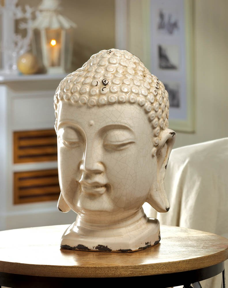 Ceramic Weathered White Finish Buddha Head Bust Table Top Figurine Statue