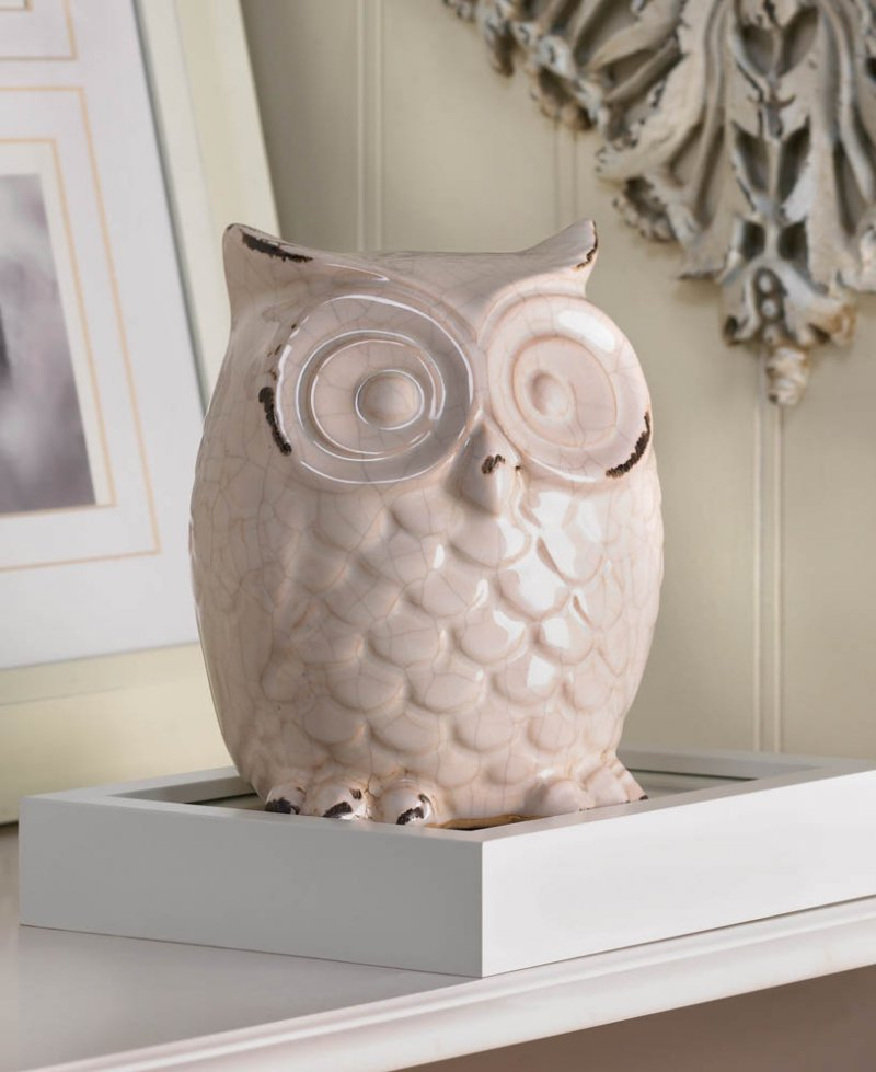 Image 0 of Distressed White Owl Table Top Figurine Statue Cracked Glaze Finish
