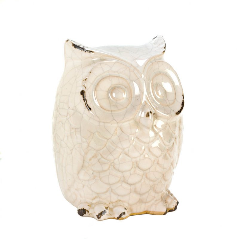 Image 1 of Distressed White Owl Table Top Figurine Statue Cracked Glaze Finish