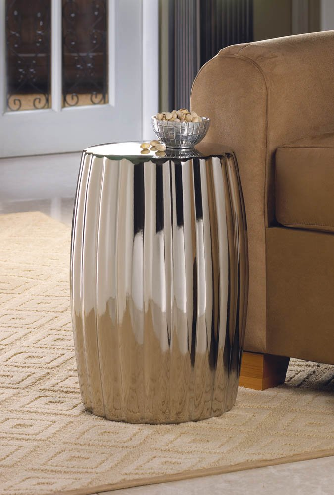 Silver Shine Ceramic End Table, Seating Stool, Footstool or Plant Stand