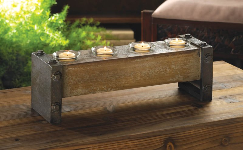 Image 0 of Rustic Industrial 4 Cup Wood Votive Candle Holder Stand Glass Cups Included