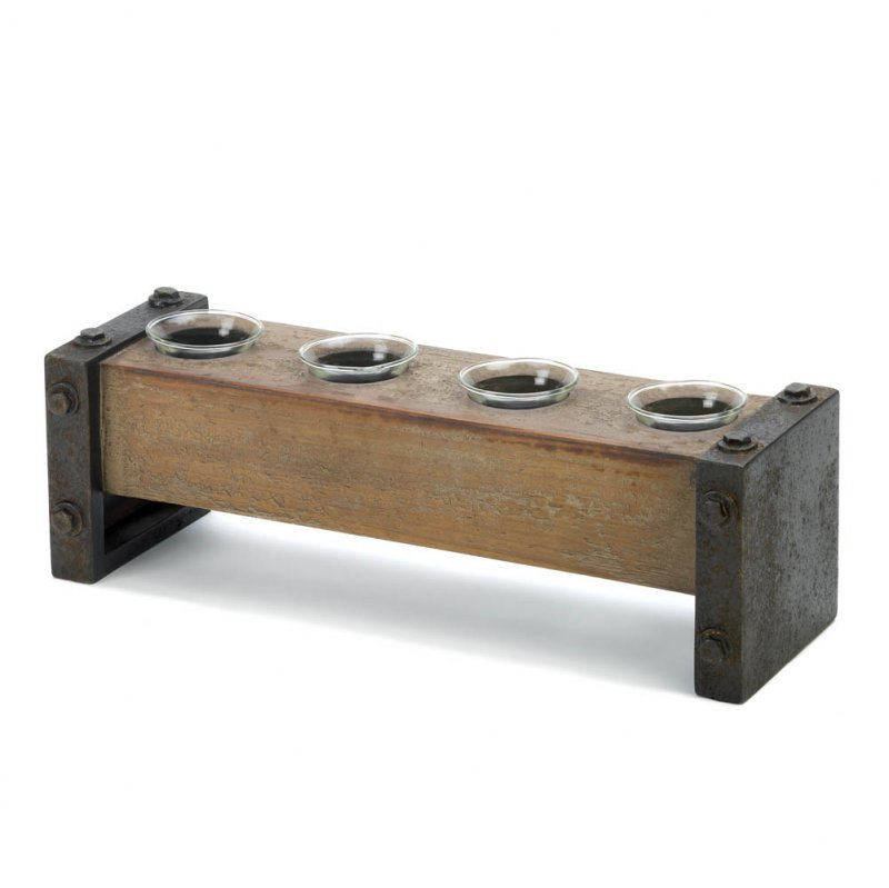 Image 1 of Rustic Industrial 4 Cup Wood Votive Candle Holder Stand Glass Cups Included