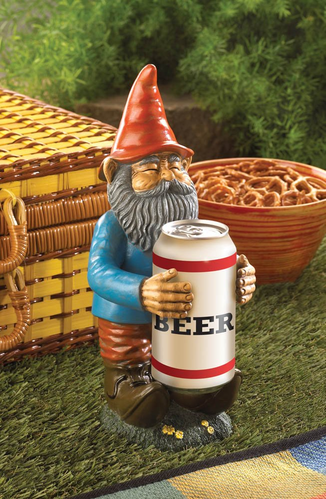 Buddy Garden Gnome To Hold a Can of Beer or Soda