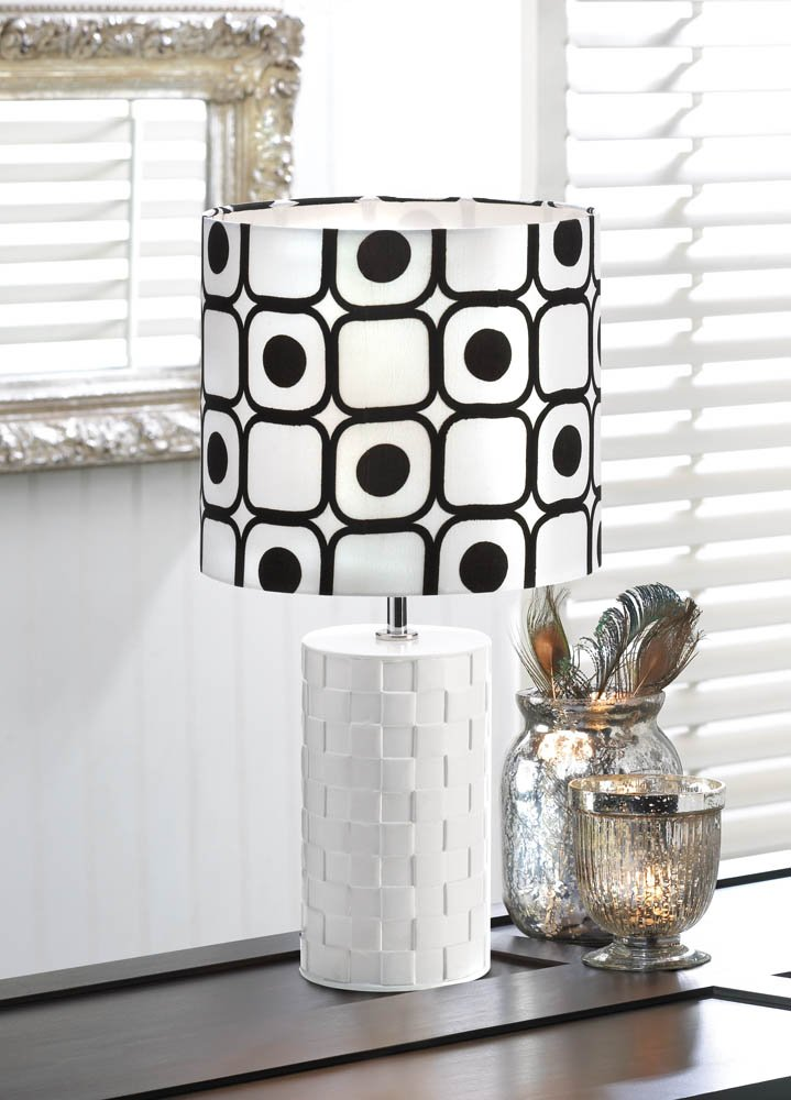 Image 0 of Modern Pop Art Woven White Base with Black and White Geometric Shade Table Lamp