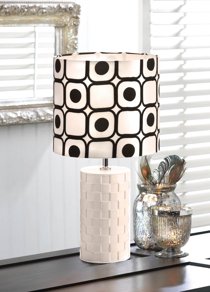 Image 1 of Modern Pop Art Woven White Base with Black and White Geometric Shade Table Lamp