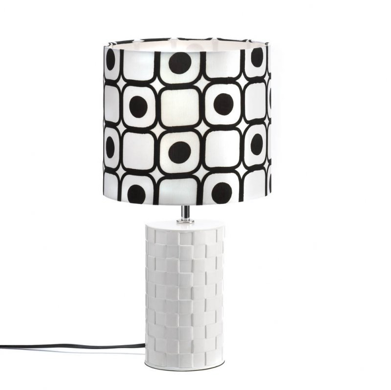 Image 2 of Modern Pop Art Woven White Base with Black and White Geometric Shade Table Lamp