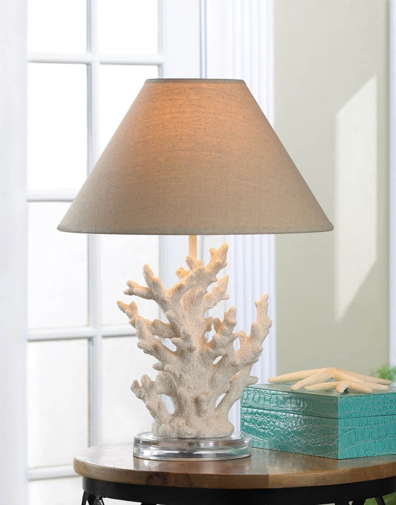 White Coral Table Lamp with Neutral Color Fabric Shade Nautical Decor