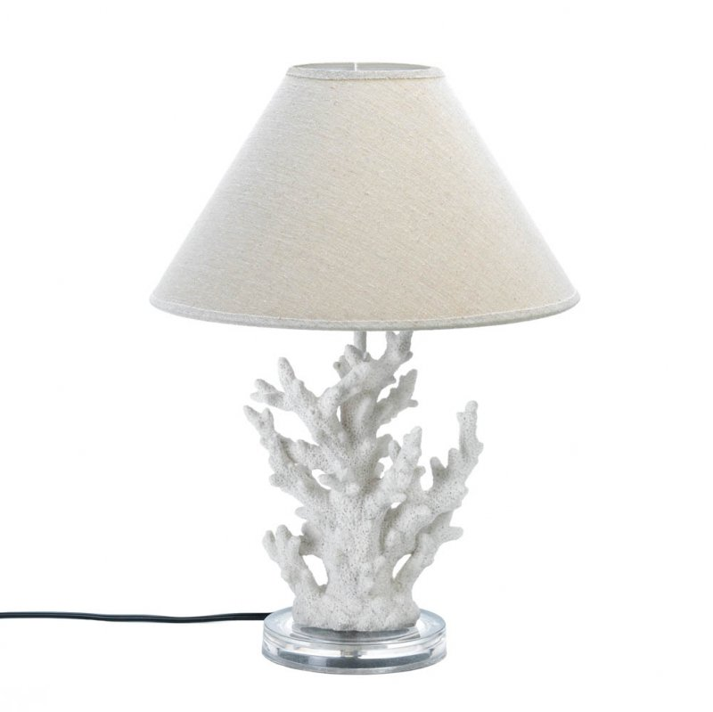 Image 1 of White Coral Table Lamp with Neutral Color Fabric Shade Nautical Decor