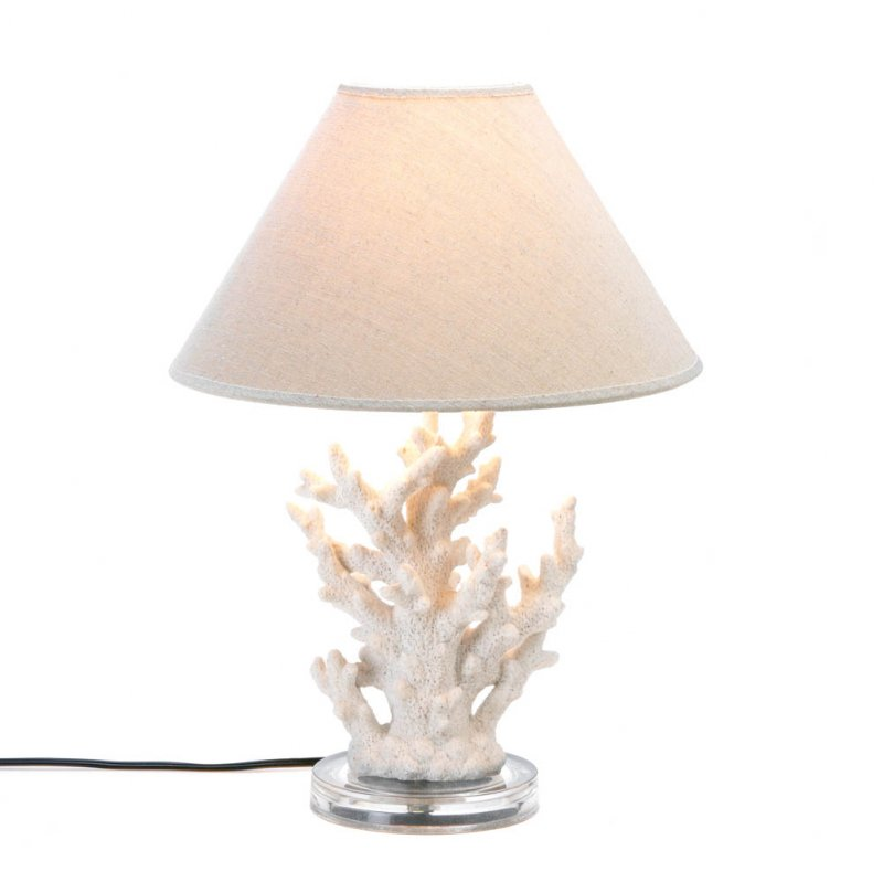 Image 2 of White Coral Table Lamp with Neutral Color Fabric Shade Nautical Decor