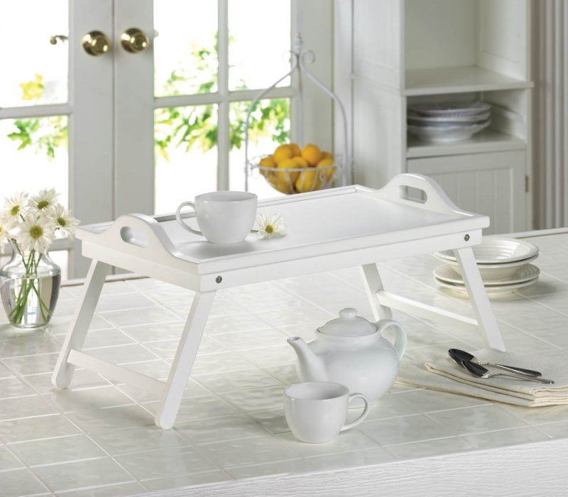 Image 0 of White Serving Tray with Handles or Breakfast in Bed Folding Tray w/ Legs