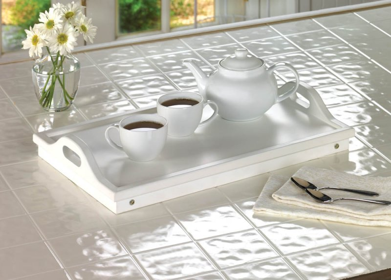 Image 1 of White Serving Tray with Handles or Breakfast in Bed Folding Tray w/ Legs